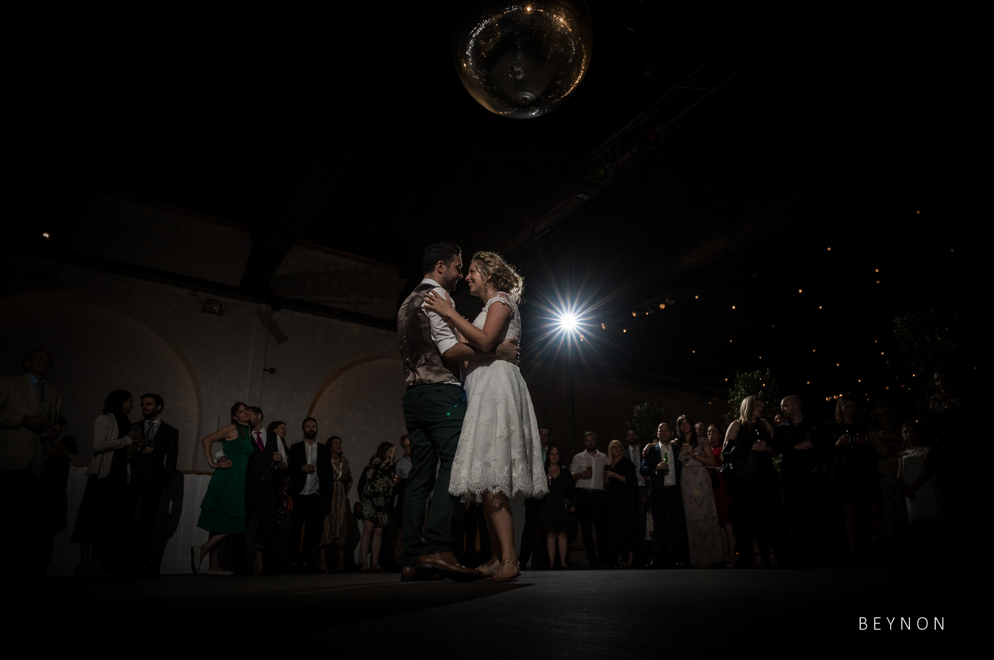 Wide angle shot of the first dance