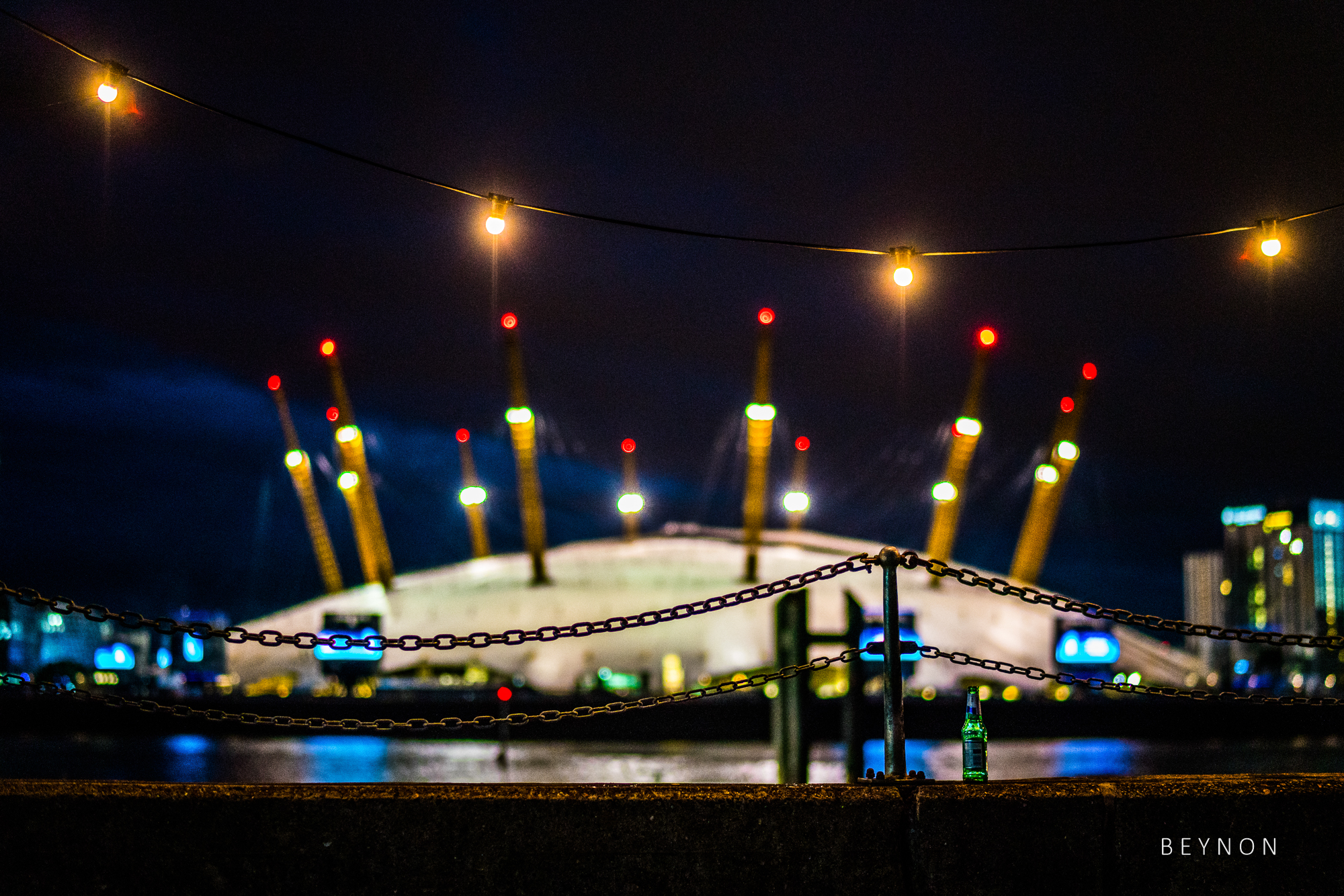 The O2 lit up by lights