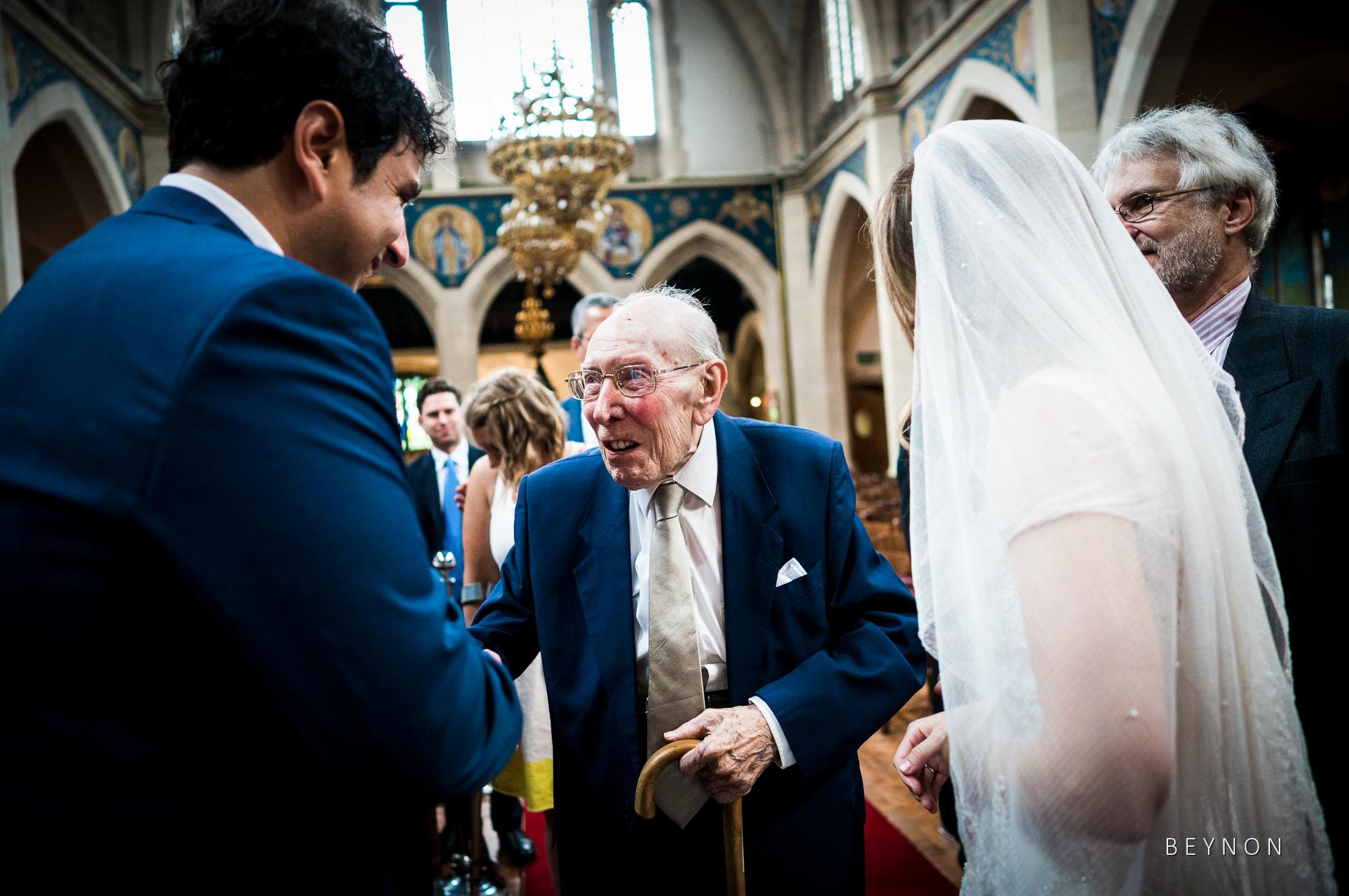 Elderly wedding guest