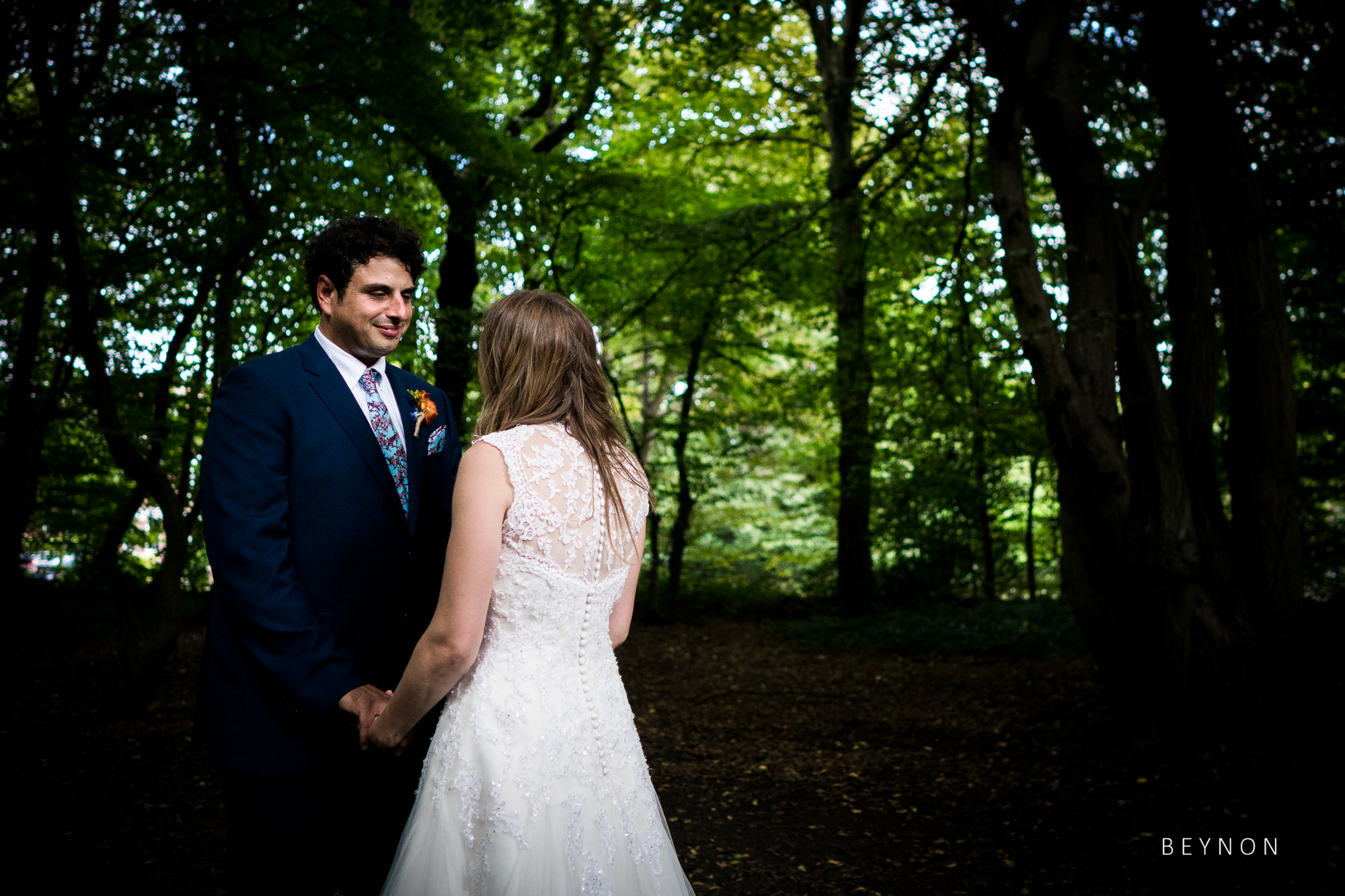 The bride and groom spend some time together