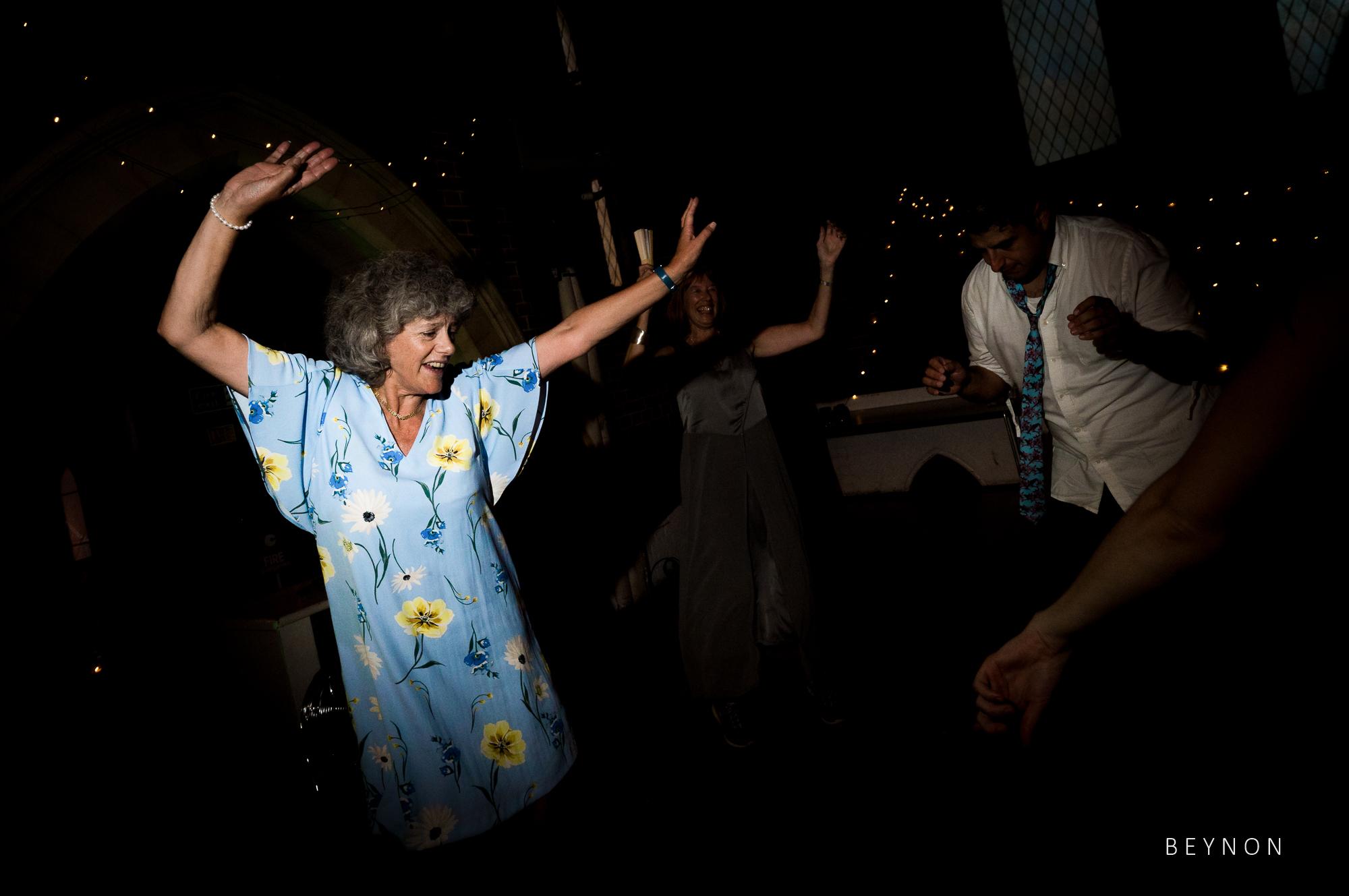 Elderly guest dancing