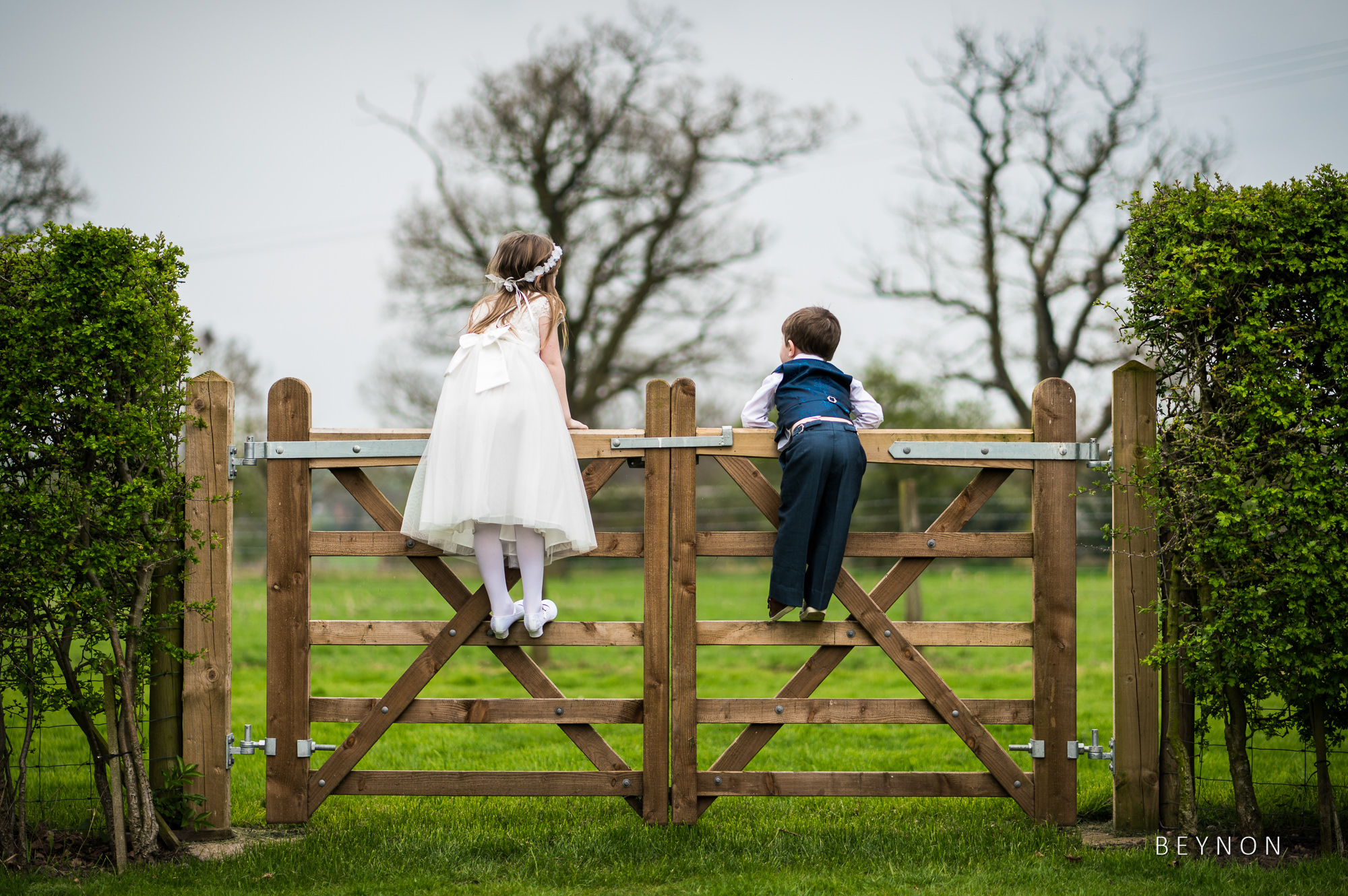 Two children stand on gate