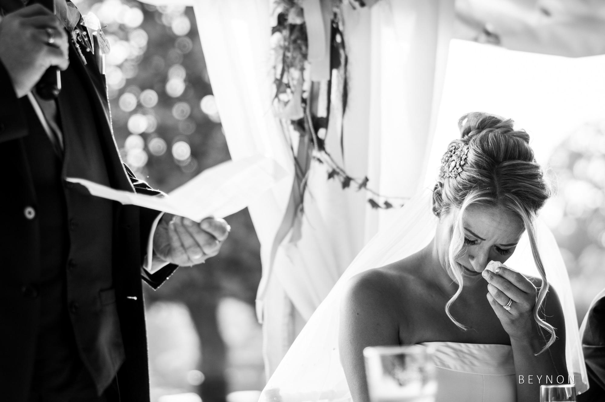 Bride wipes away a tear during dad's speech
