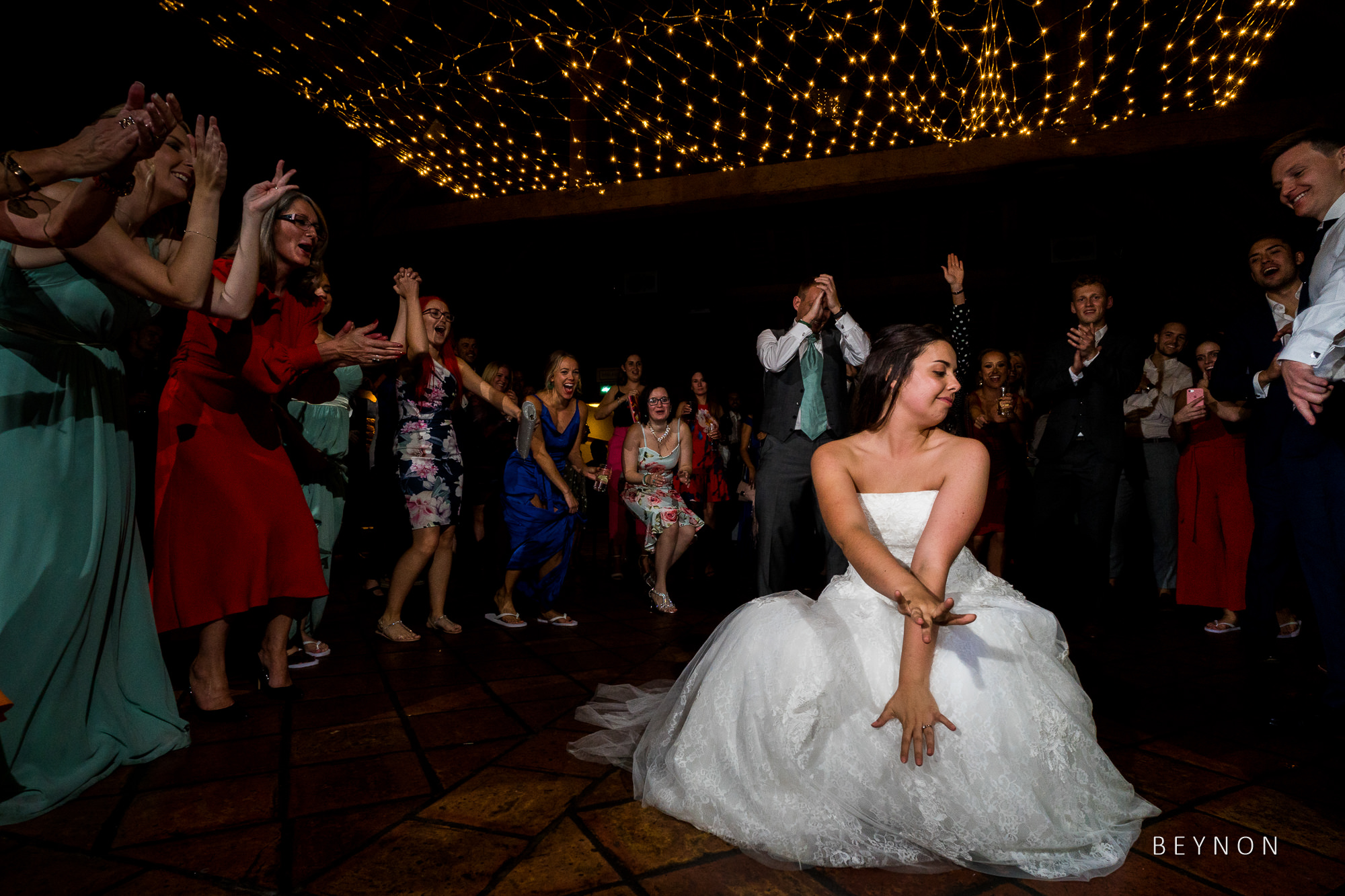 Bride dancing during evening recpetion