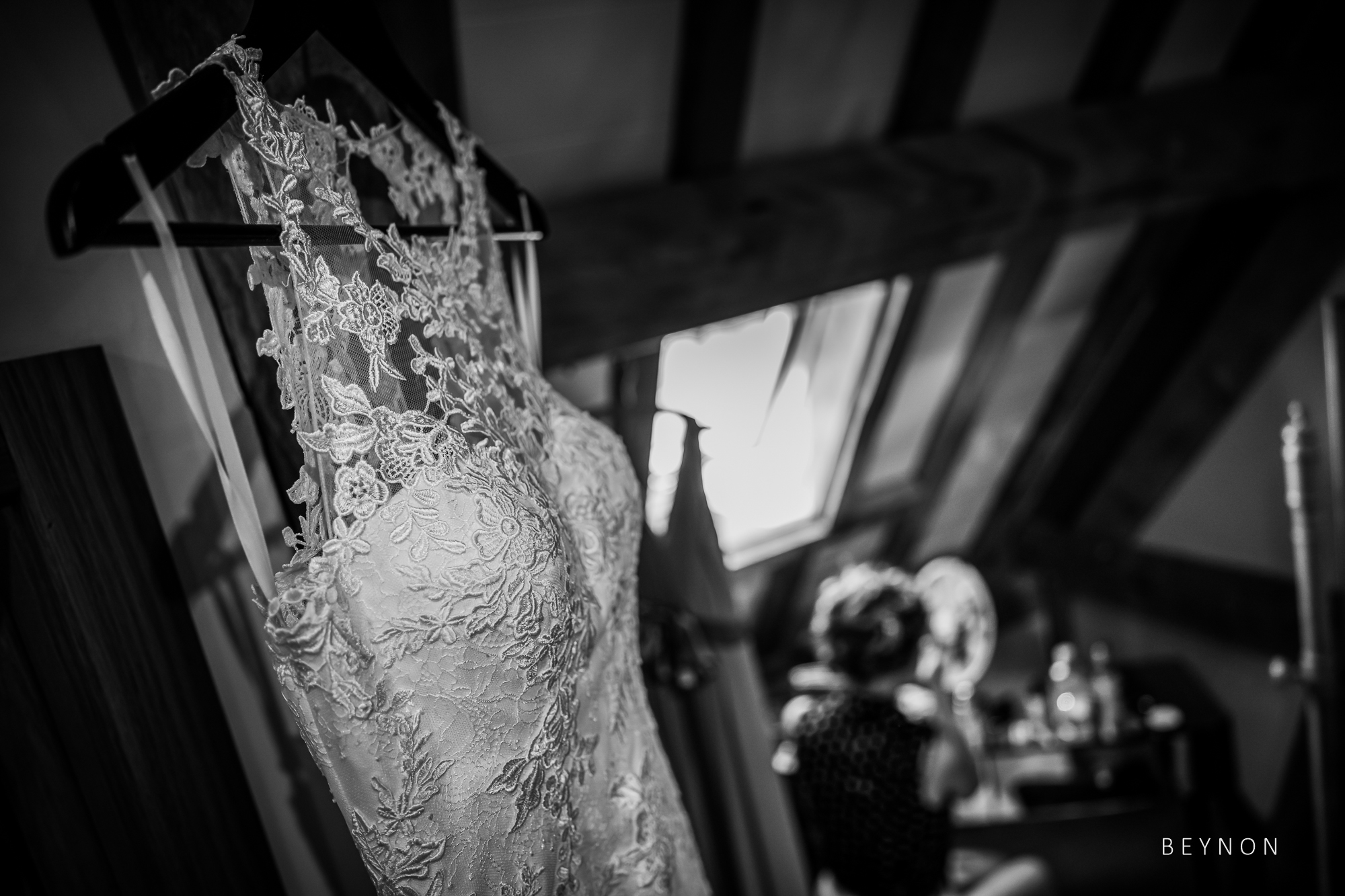 Wedding dress hangs up