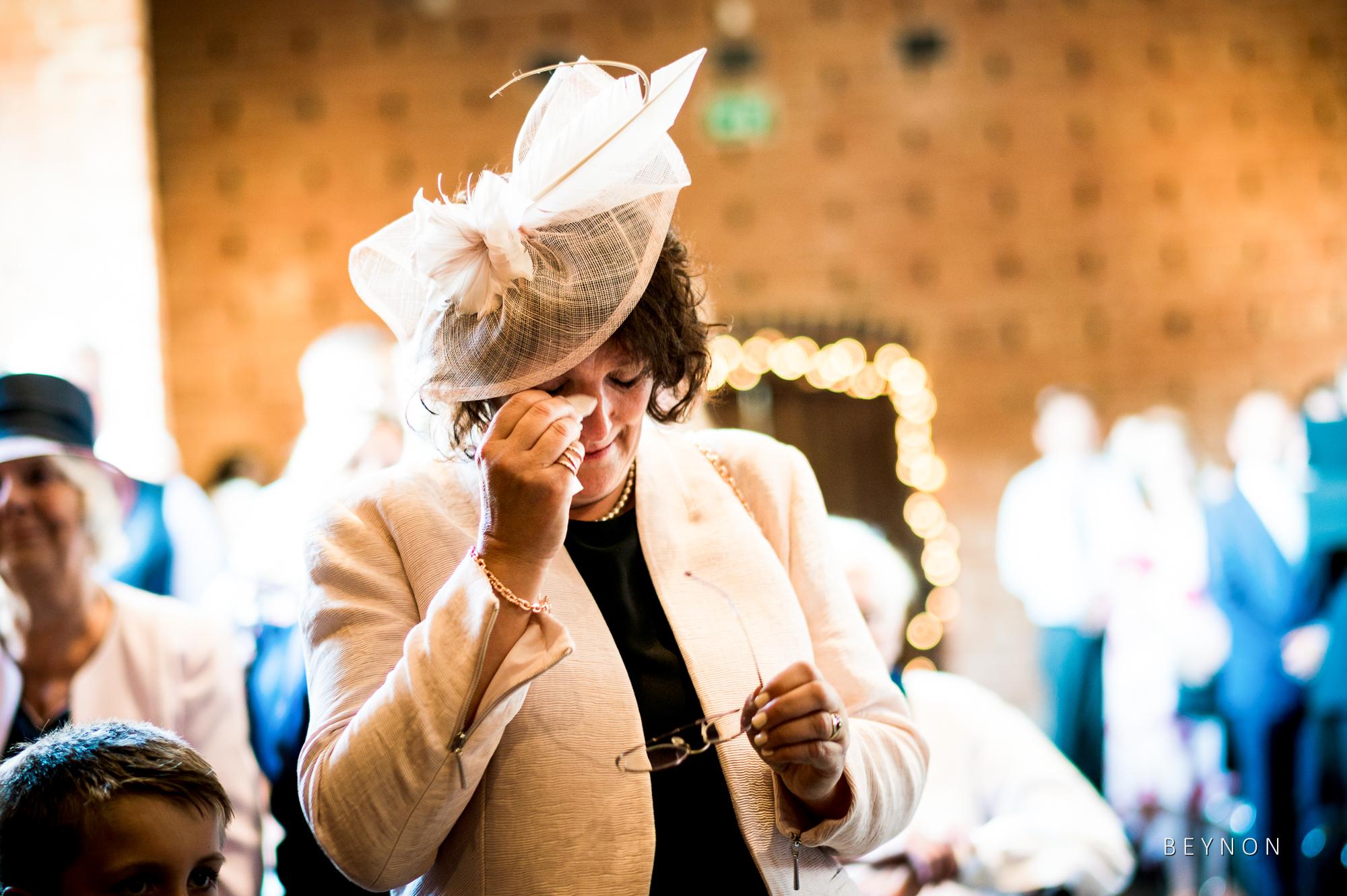 Mum wipes away tear