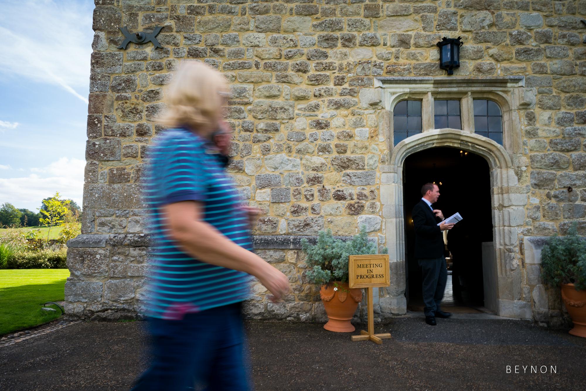Guest walk past the main door