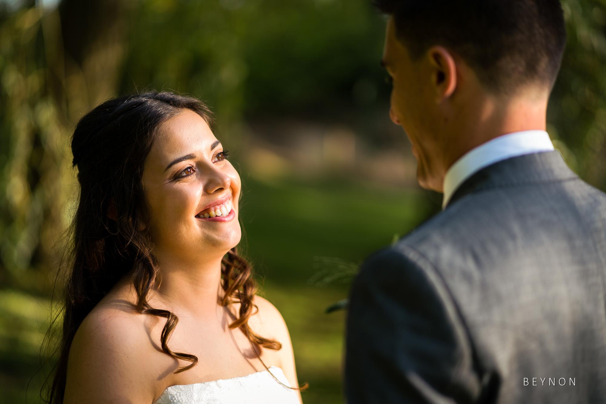 The bride smiles