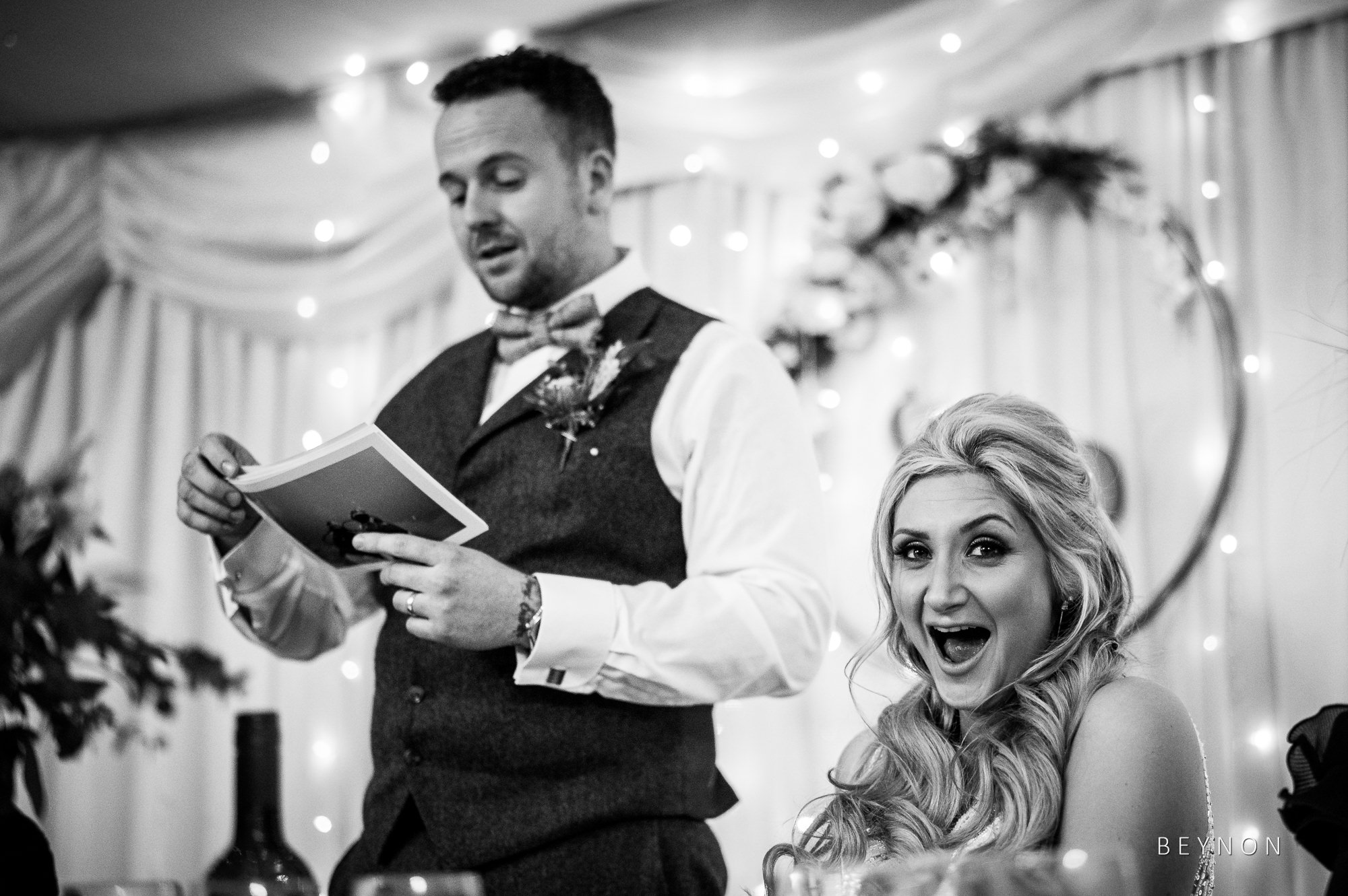 Bride laughs