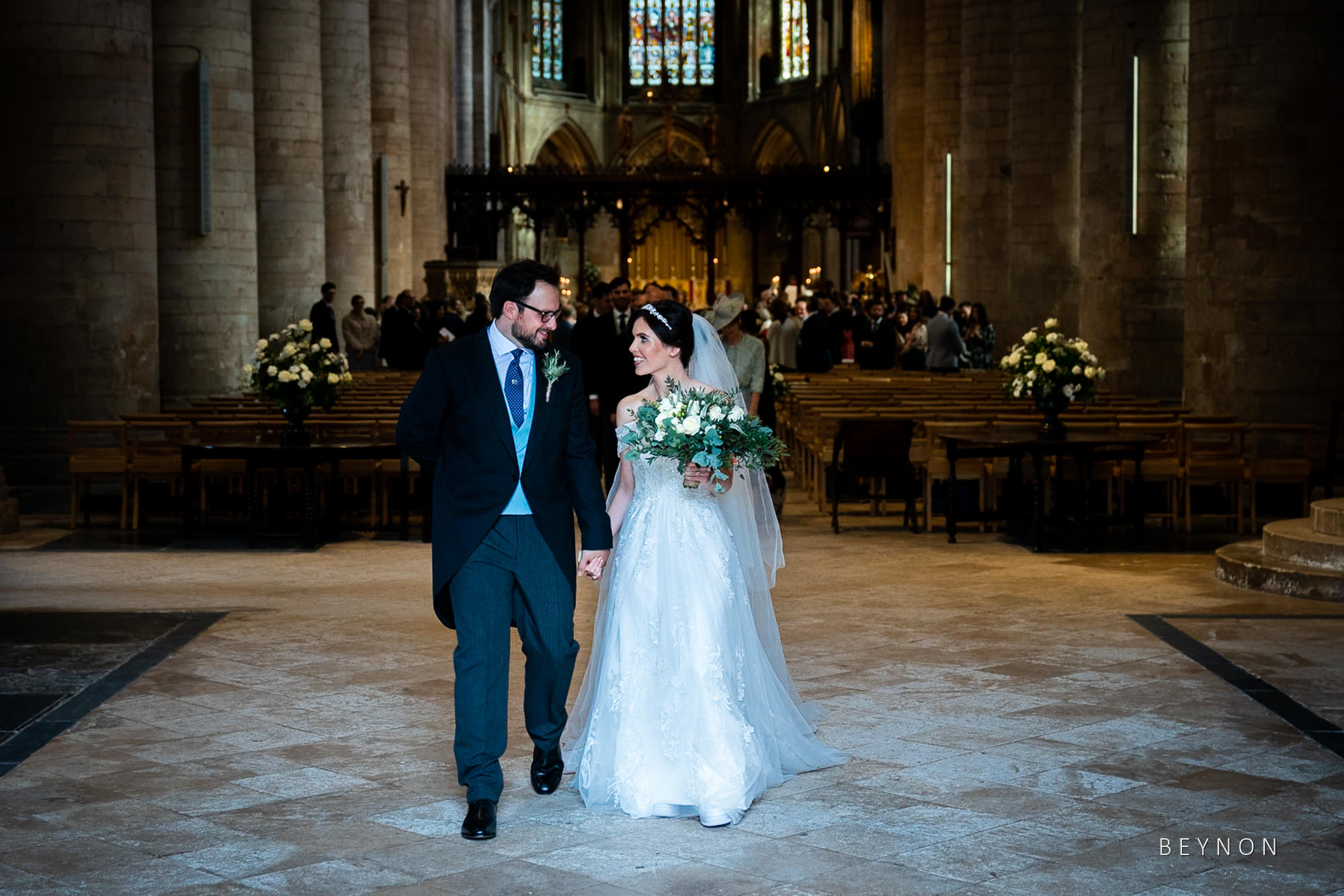 The happy couple leave the church