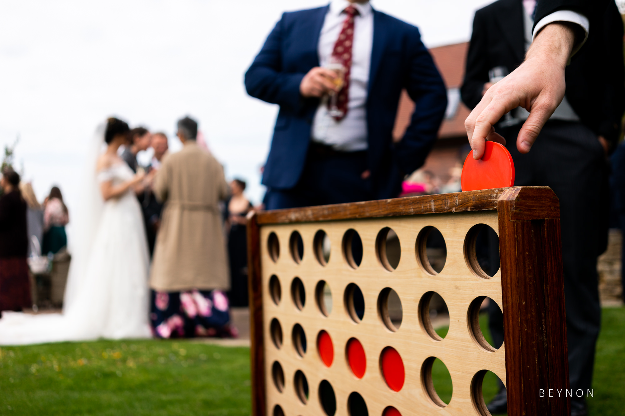 Connect 4 is a popular garden game at weddings
