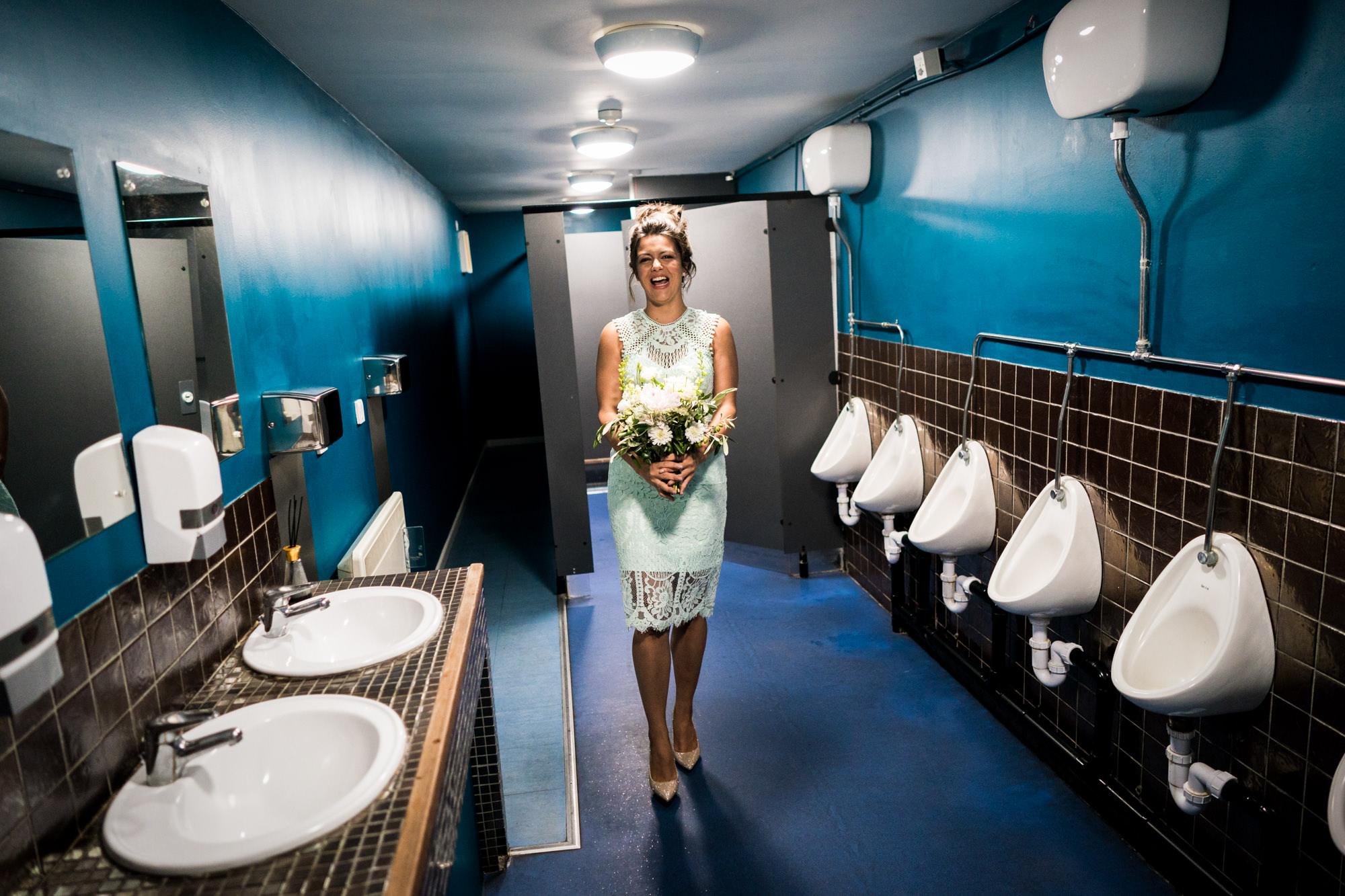 When the men's toilet is the only place long enough to practice your walk down the aisle.