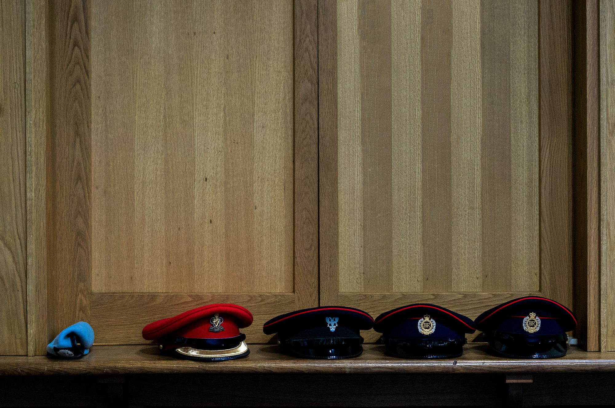 Men's hats go off in church.