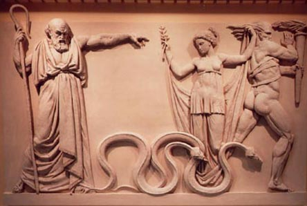 Ancient artwork depicting an alpha-male telling a mamba to get lost and stop messing with his girl. Or it's Saint Patrick - art historians around the world still debate this - no way to know for sure.
