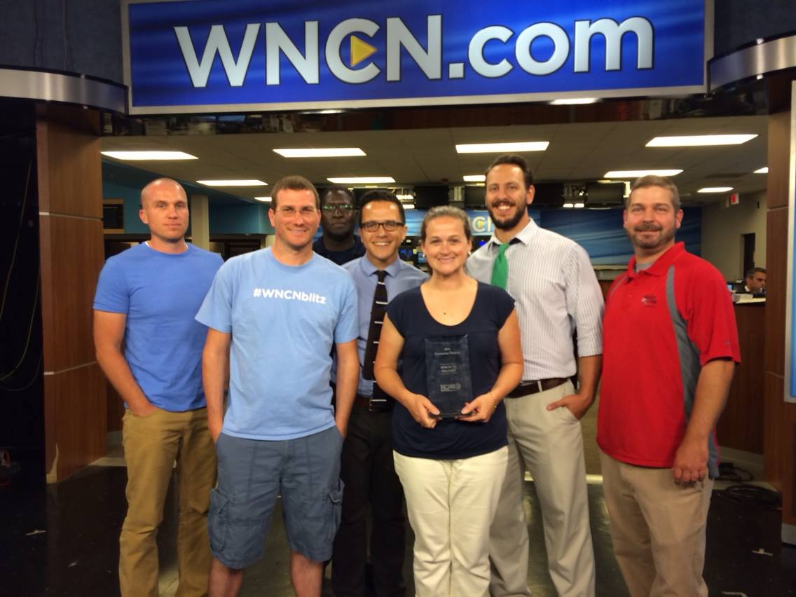 "The 11:00 pm WNCN-NBC news team after winning the North Carolina Association of Broadcasters ""Best Newscast"" award - the first in the station's history."