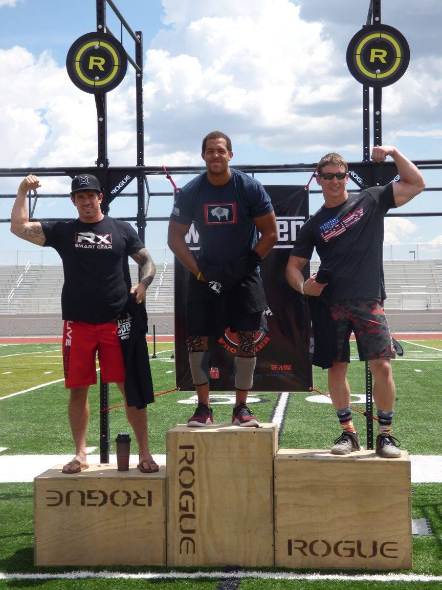 A familiar site. 2015 Wyoming Open Men's Pro Division podium. 2016 Games athlete Christian Lucero (left) couldn't stop Malachi Bennett (center) from winning his third straight Open title.