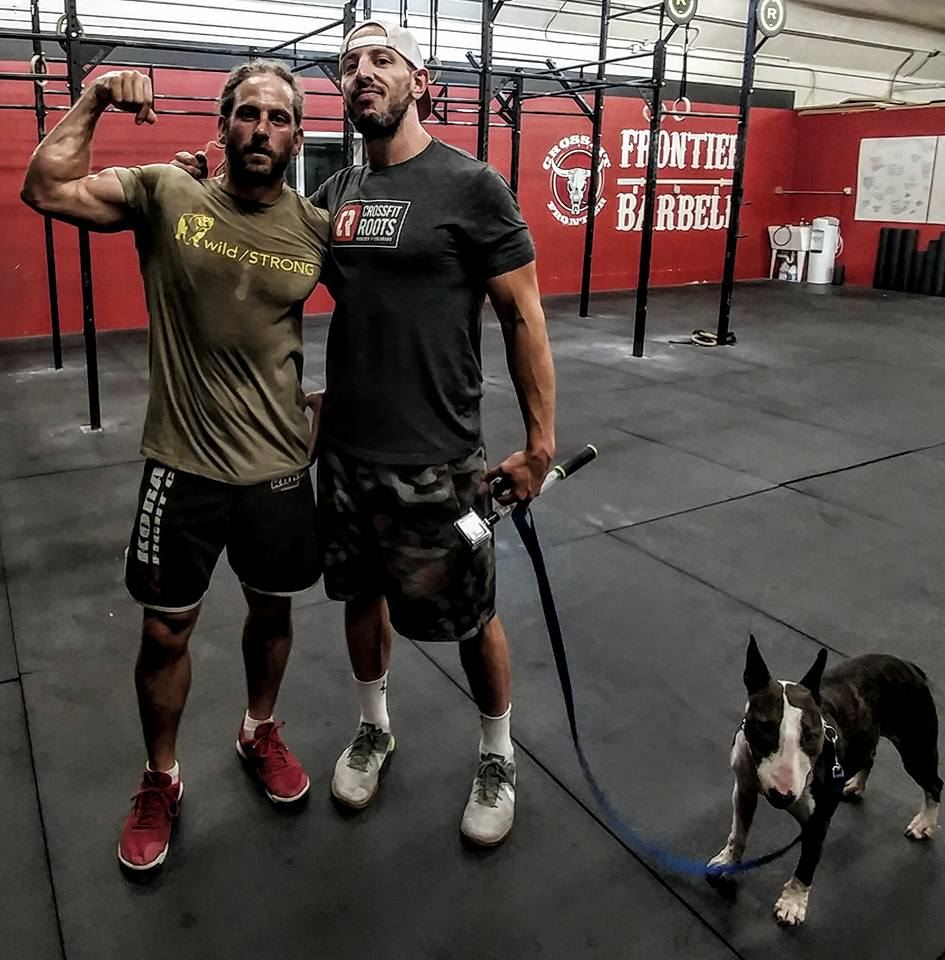 Matthias Waggener, left, with wild/STRONG Founder and brother, Seth Waggener. Gracie the Bull Terrier to far right.