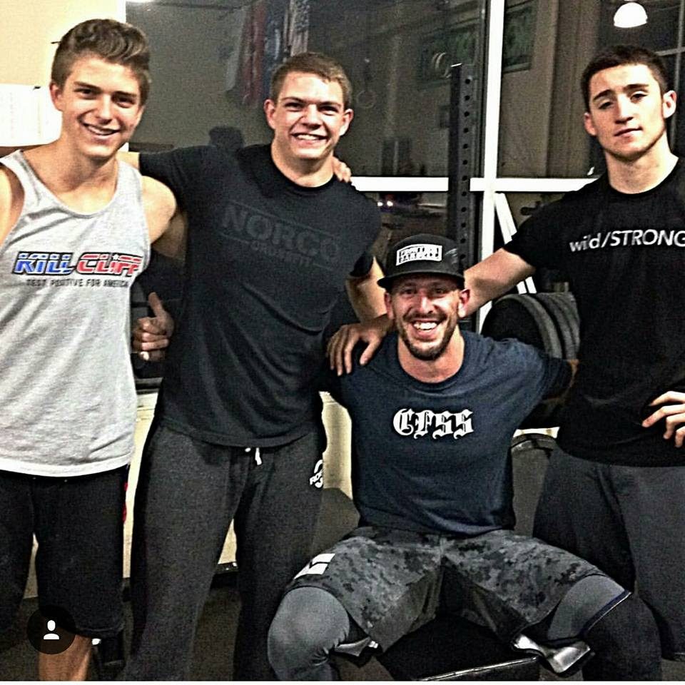 wild/STRONG athlete Logan Ewing (far right) missed qualifying for the CrossFit Games by one spot in 2017. He will be joined by teammate Ryan Barber (one in from left) in Cheyenne this weekend. Barber comes in as the favorite to win the Open division, while Ewing will have to contend with Malachi Bennett in the Pro division.