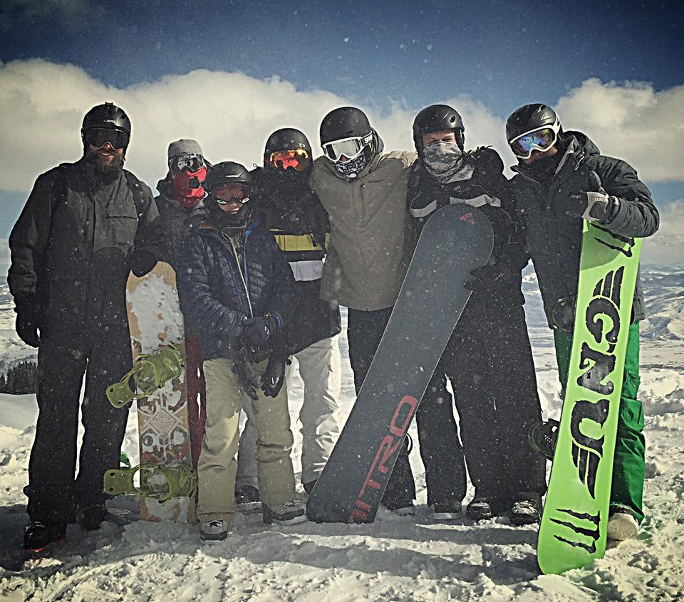 Waggener (center in tan jacket) during annual snowboard trip with friends from Alabama. Brighton Resort - Salt Lake City, UT