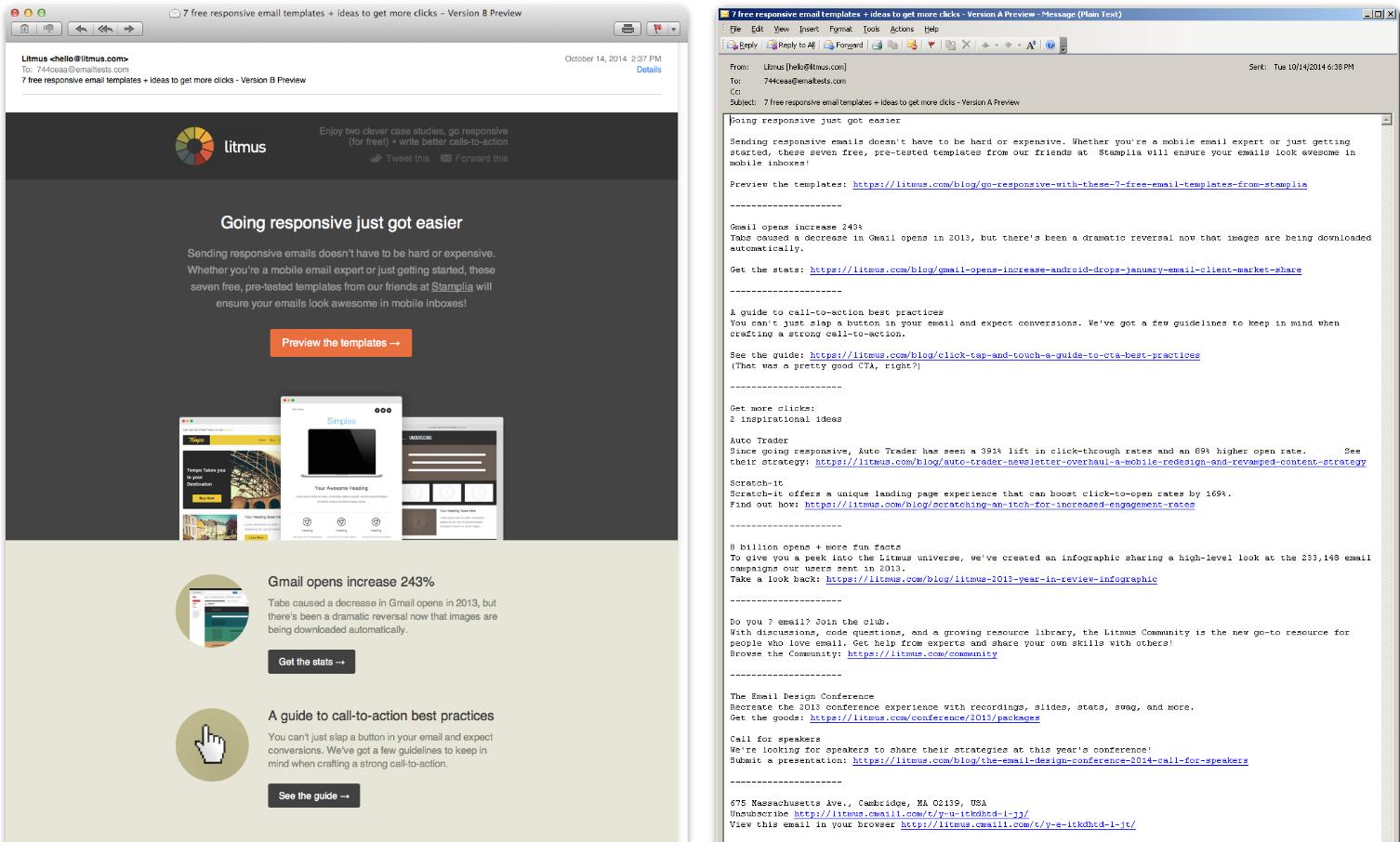 Left: HTML; Right: Plain text (Source: Litmus)