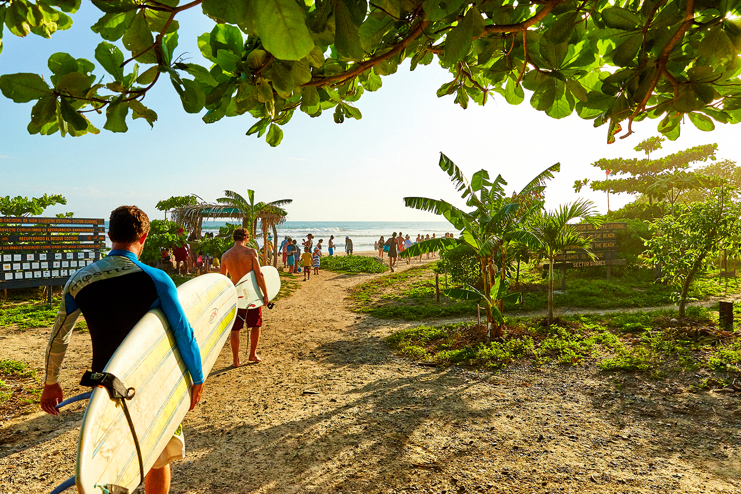 HEADING OUT FOR THE DAILY SUNSET SESSION. PLAYA GUIONES, NOSARA