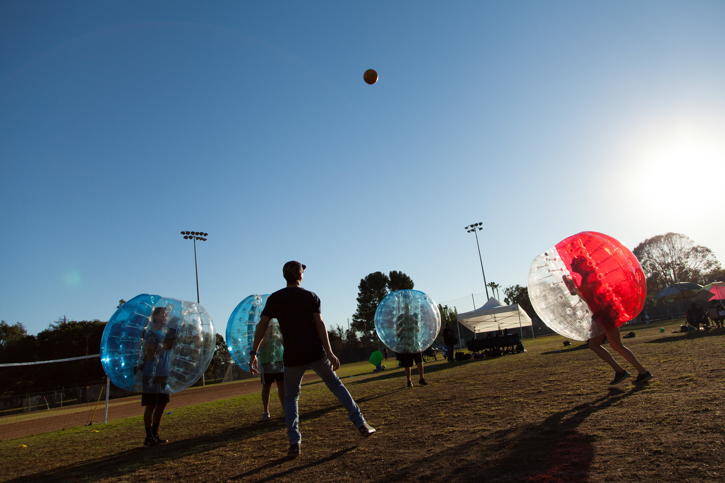 Bubble soccer exercise is a real workout