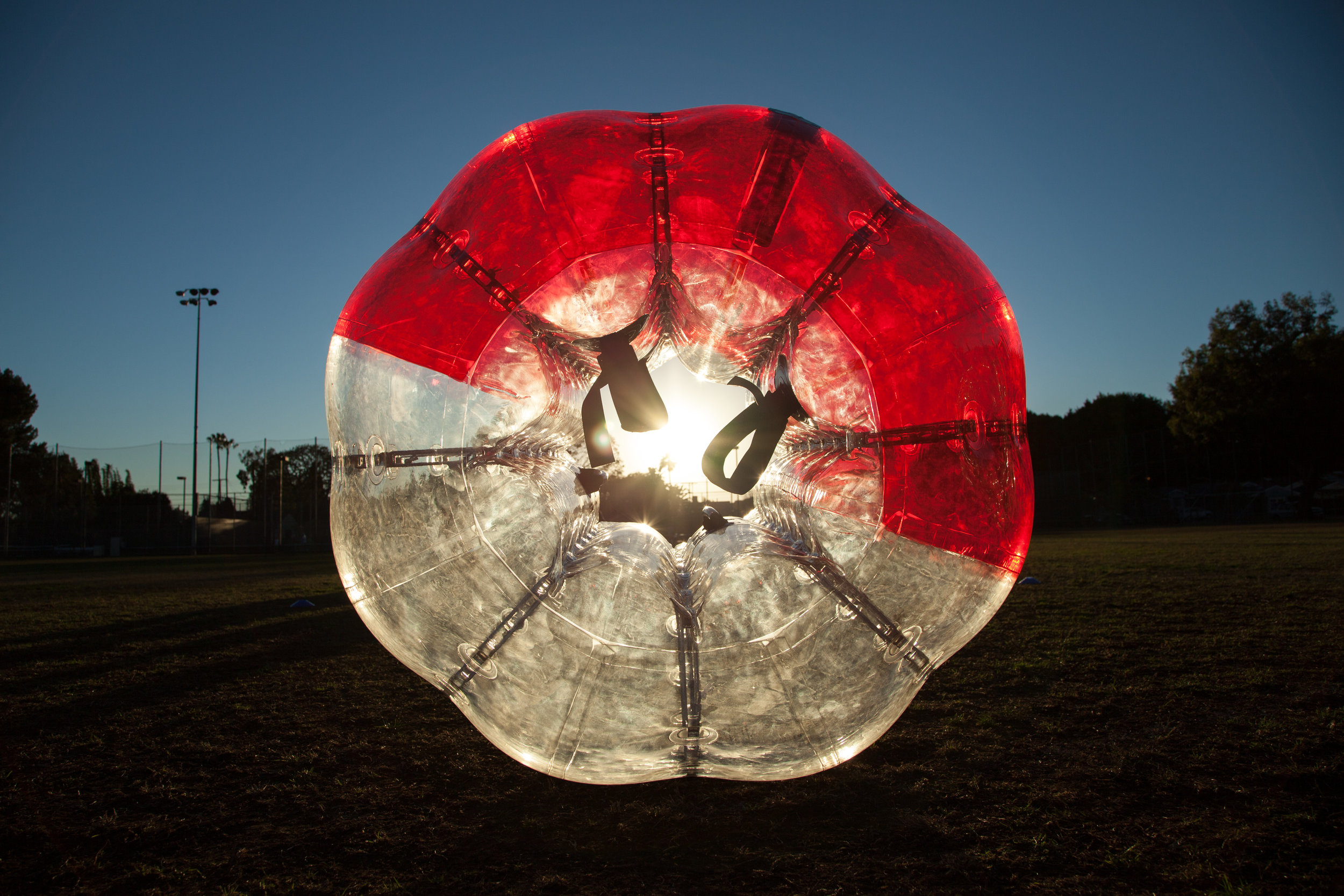 Zorb Soccer Ball in Los Angeles back lit by the Sun