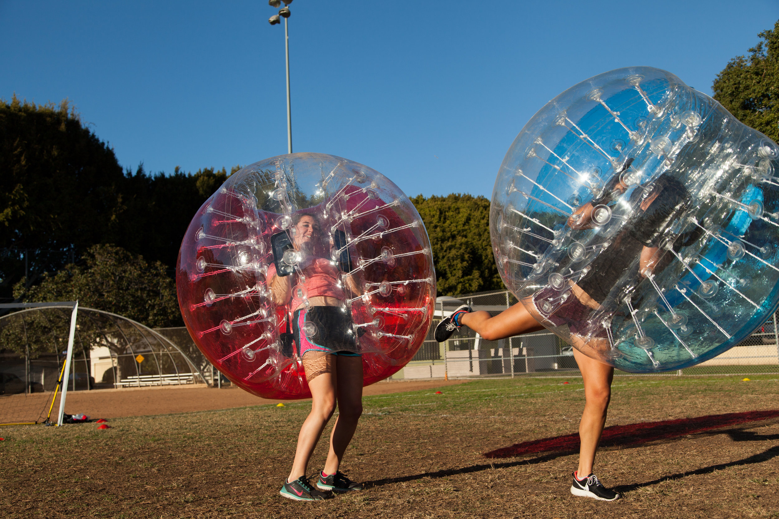 Big bump girls rent bubble soccer party Hermosa Beach