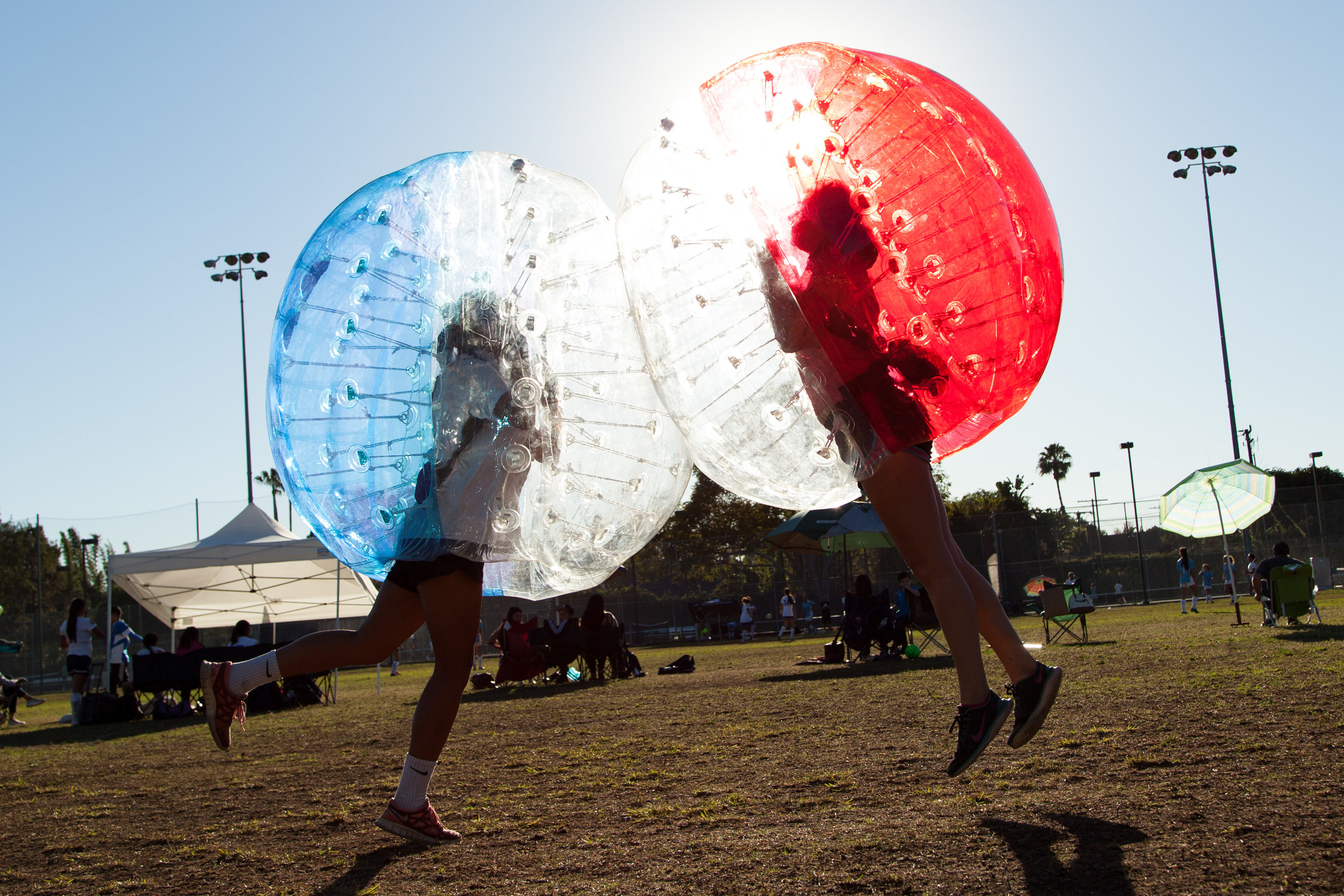 Bubble Soccer Five at a park in Beverly Hills