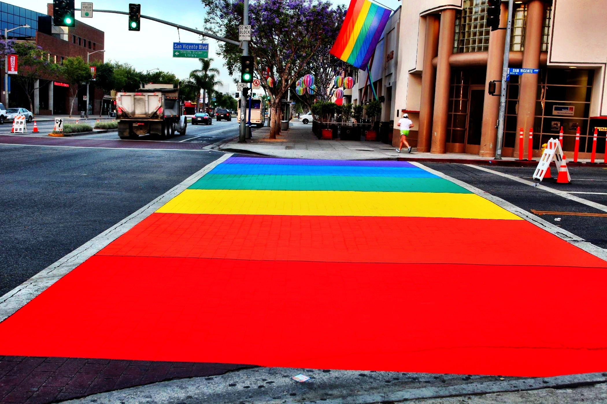 Stratus Bubble Soccer supports West Hollywood pride flag and walkway rainbow