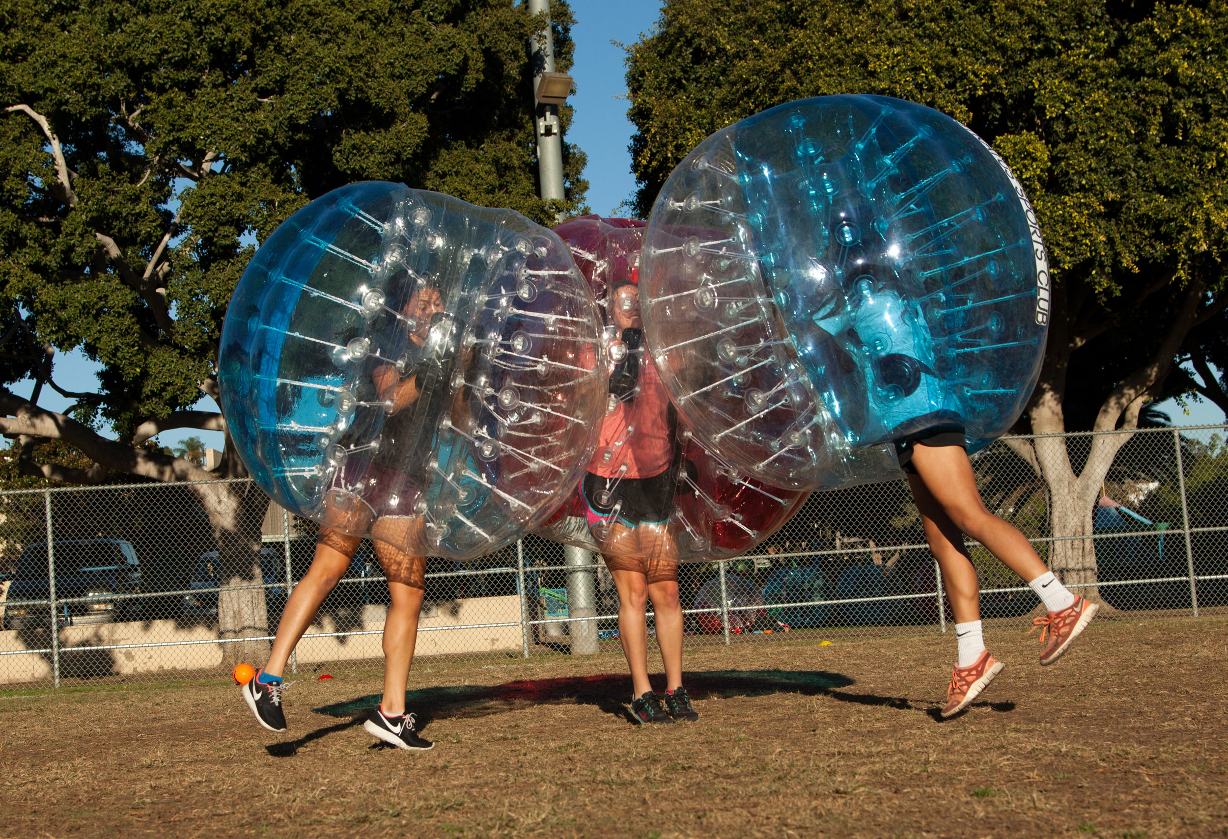 It's the amazing triple bubble soccer airbump at a park in West Hollywood