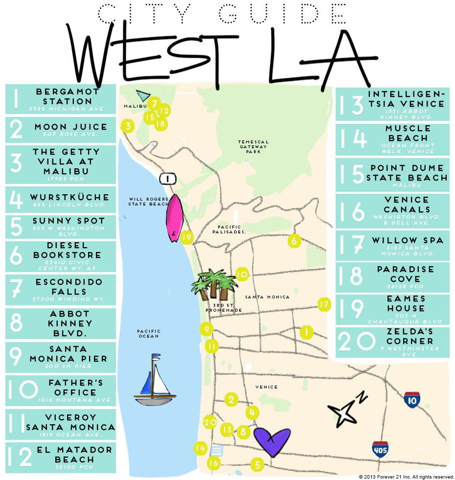 West LA Map with lots of places to play bubble soccer