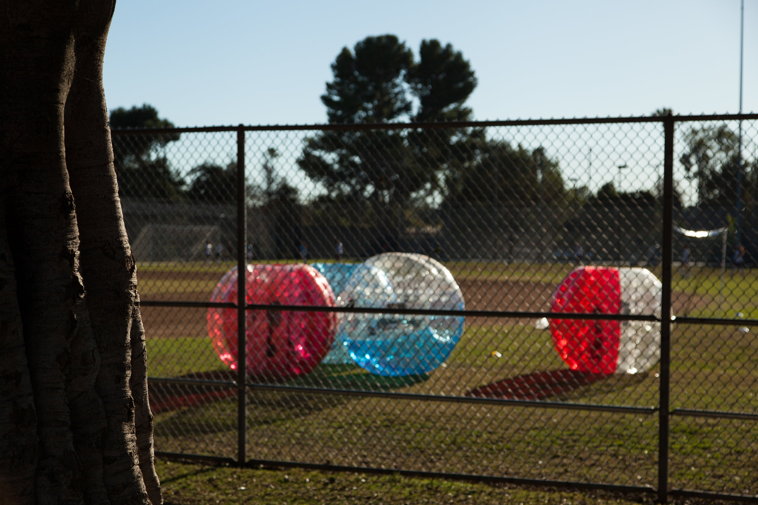 Bubble Soccer suits ready to play at a park in Glendale CA