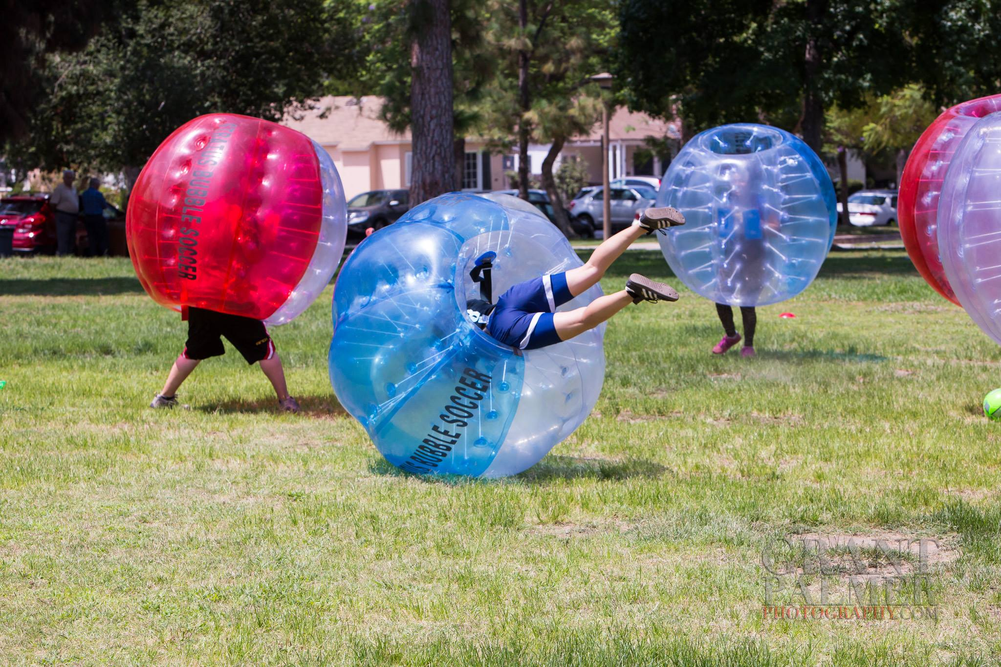 Bubble Soccer friends and guy falling!
