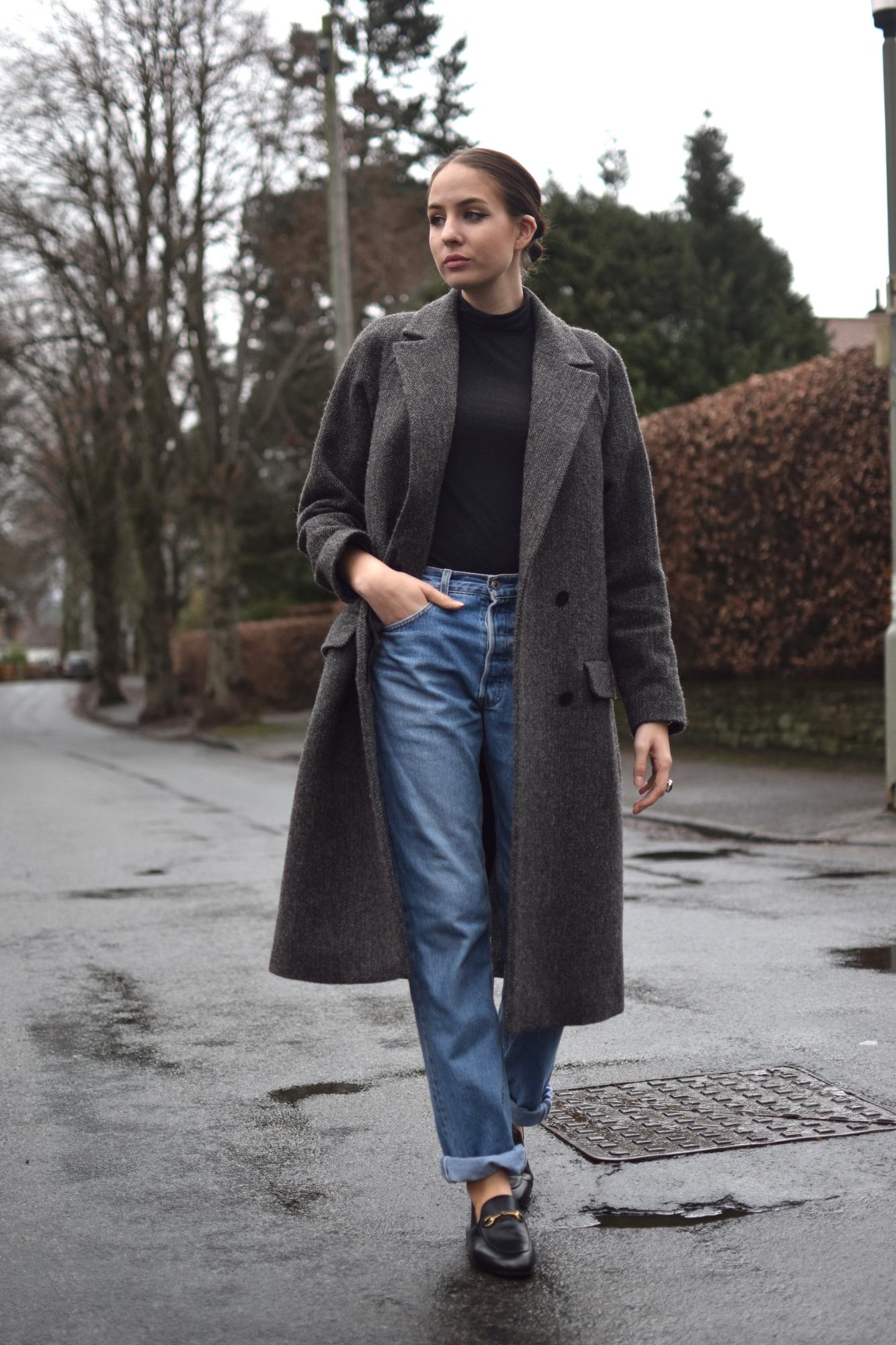 Tweed overcoat androgynous style uk blogger