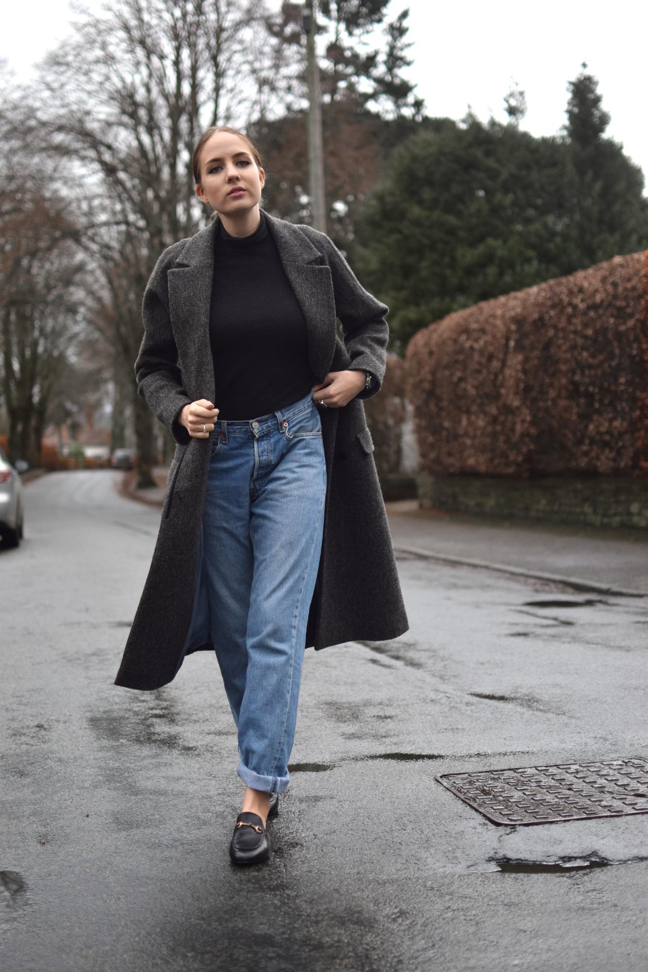 Vintage 501s and tweed coat