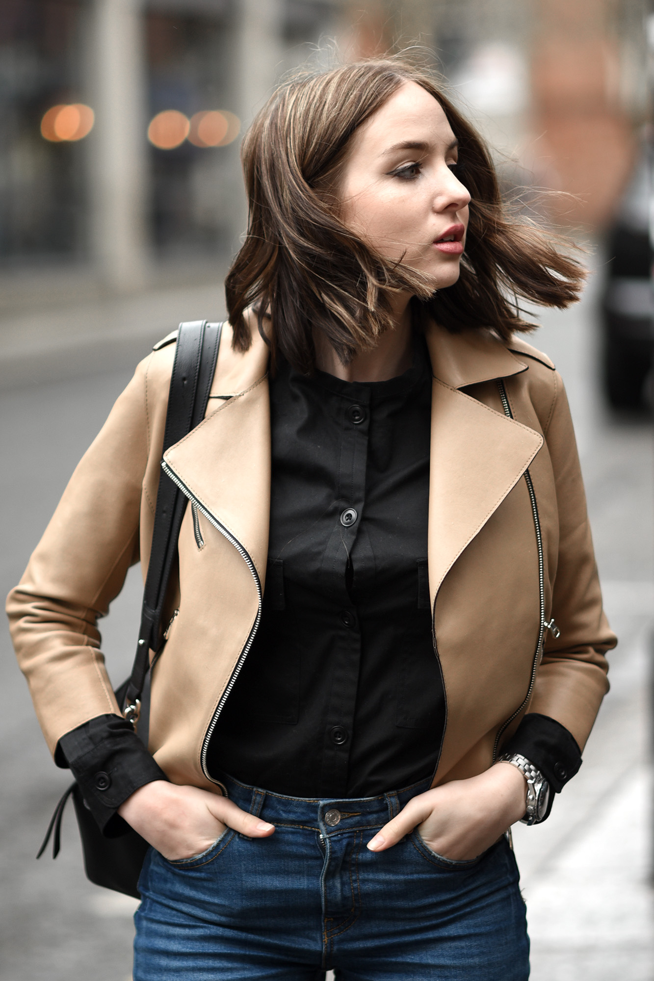 Cream Leather Jacket Outfit