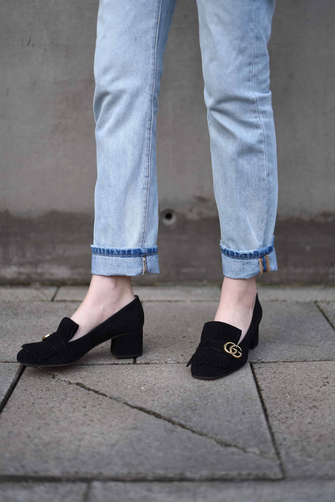 Gucci Suede Mid Heel Pump — SHOT FROM
