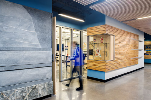 Classrooms feature locally harvested/salvaged slatted wood wall & stone panels quarried in VA. These tell geologic & natural history of region & create tangible connections between curriculum & place.