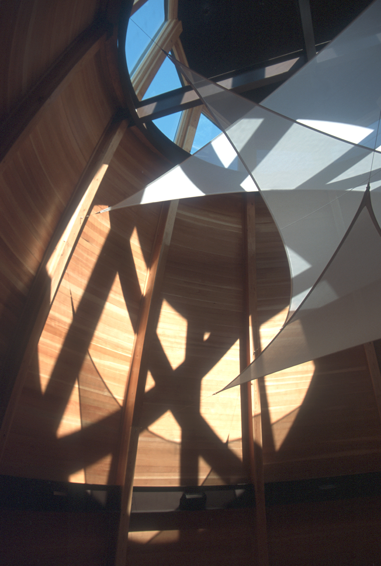 Natural materials and daylighting enliven the interior of the Circle of Four Directions