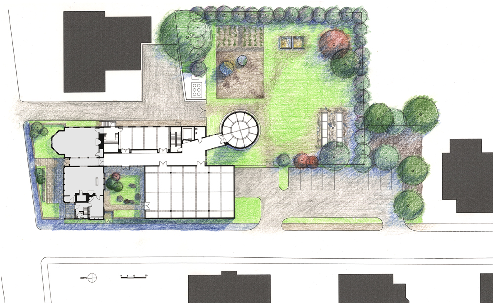 Site plan illustrating the disposition of museum facilities.