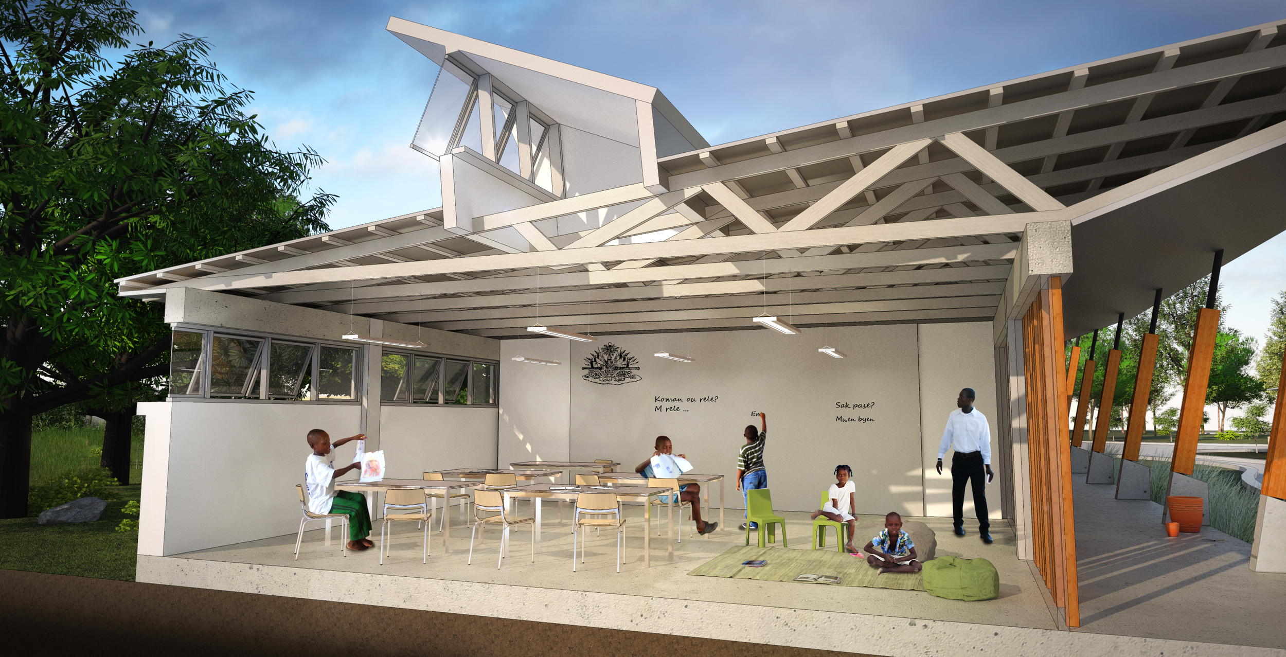 Rooftop monitors above each classroom provide daylight and facilitate natural ventilation