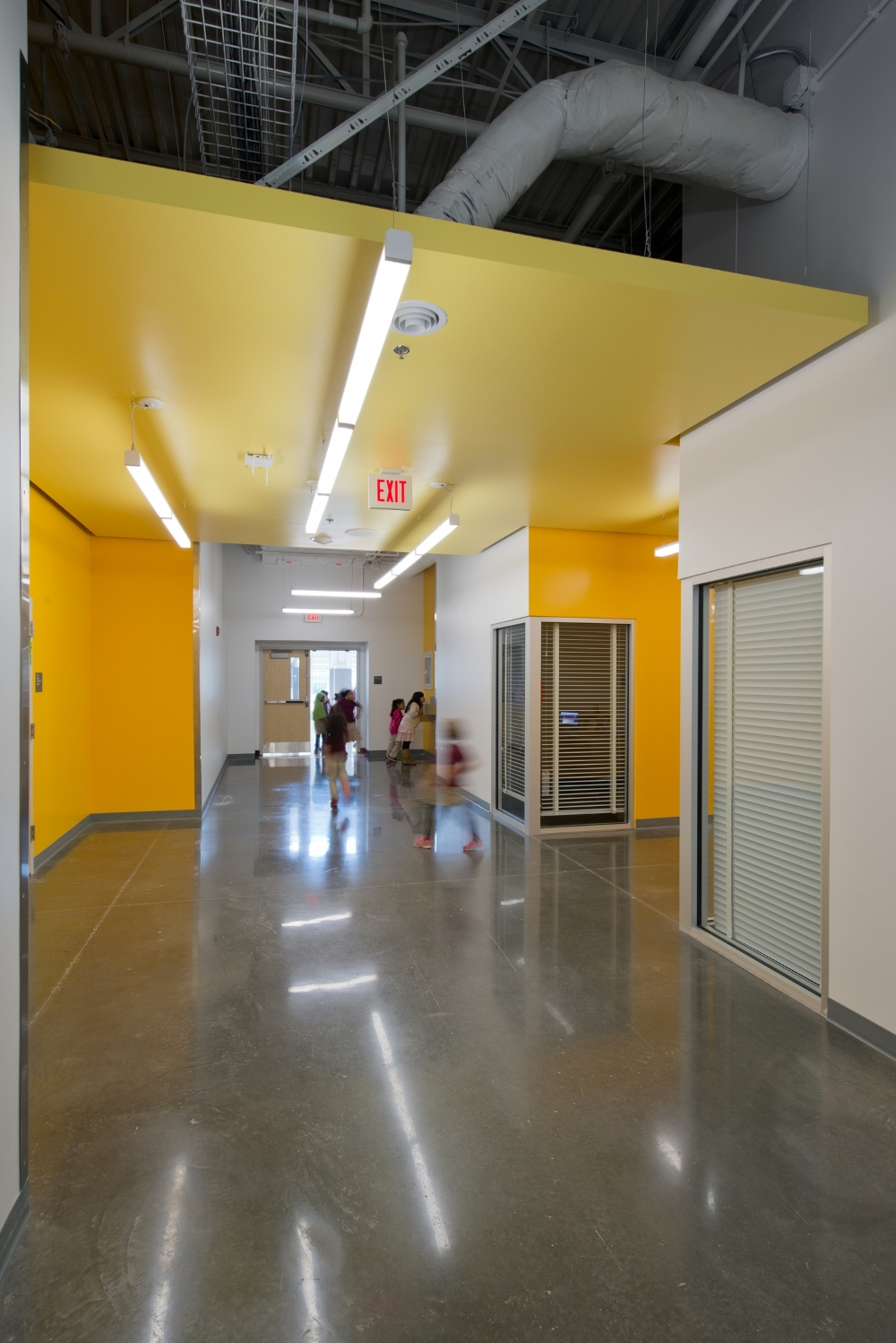 Ground-and-polished concrete provides a durable and elegant finish that can be easily maintained with non-toxic cleaning products.