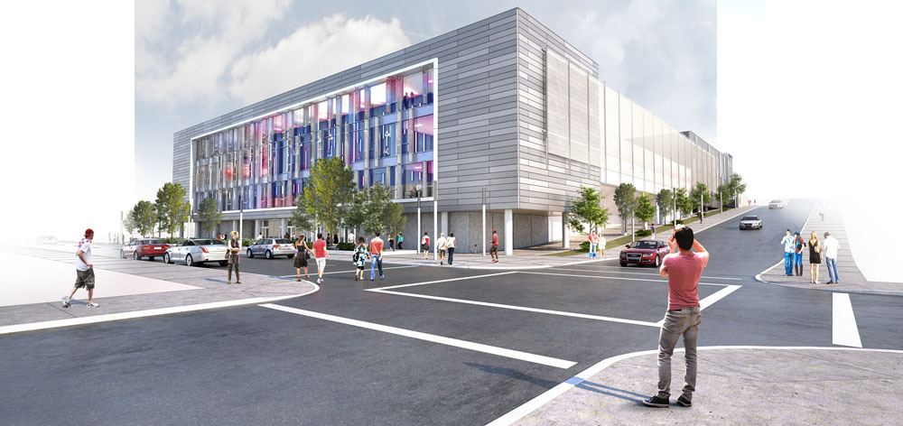 A crisp modern architecture offers a fresh complement to the bustling Forbes Ave, while a new perforated metal screen transforms the appearance along the Magee St approach to the campus.