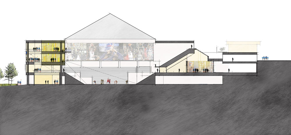 Renovation better negotiates dramatic grade-change through site. Amenities are concentrated along Forbes Ave side of arena; student-athlete facilities are along uphill, campus side of the building.
