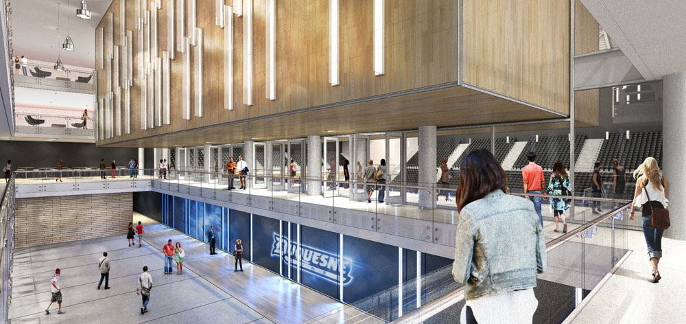 A new four-story atrium replaces an outdated and undersized lobby at the Forbes Avenue entrance.  The new lobby increases connectivity within the facility and unites the patron amenities.
