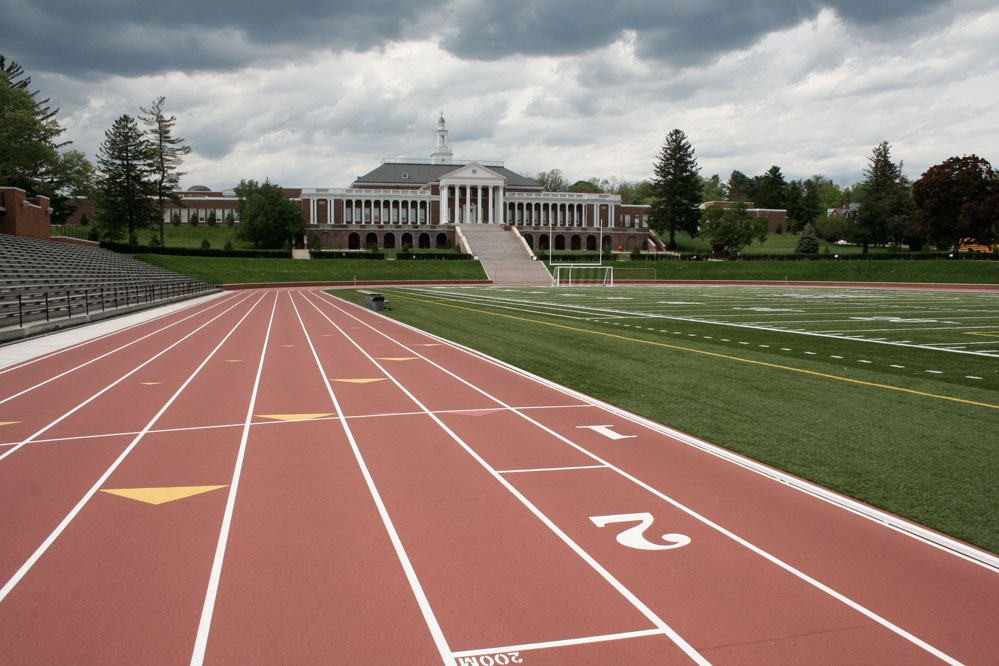 A state-of-the-art eight-lane track encircles the artificial turf football field.