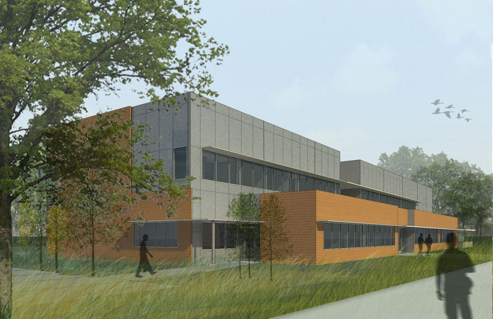 The new buildings are configured to preserve the existing tree canopy.
