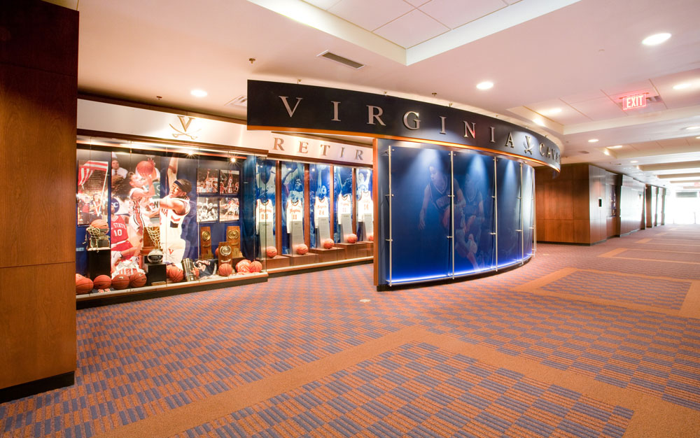Retired jerseys and sports memoribilia line the public concourse outside the men's and women's basketball coaches' offices.