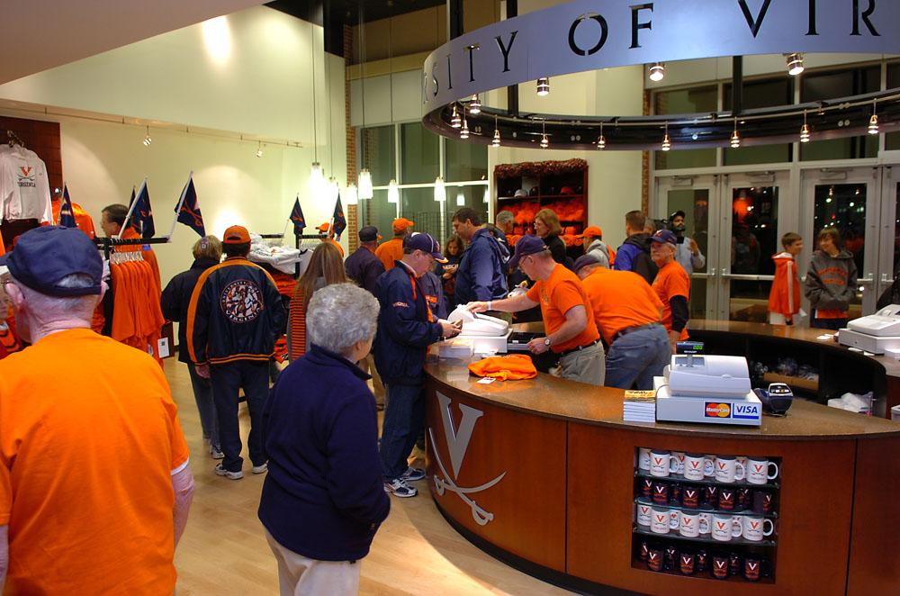 Home team fans enjoy shopping in UVa's Team Store.